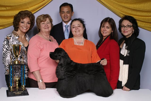 Mr. Gan judging at Groom & Kennel Expo, Pasadena, California, Winner Ms Irina won USD$32,500.00.