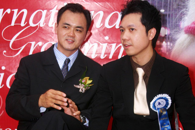 Mr.Gan And An Invited Thailand Judge At MPGA 1st International Pet Grooming Championship